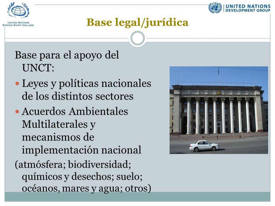 Base para el apoyo del UNCT: Leyes y políticas nacionales de los distintos sectores Acuerdos Ambientales Multilaterales y mecanismos de implementación nacional (atmósfera; biodiversidad; químicos y desechos; suelo; océanos, mares y agua; otros) Base legal/jurídica