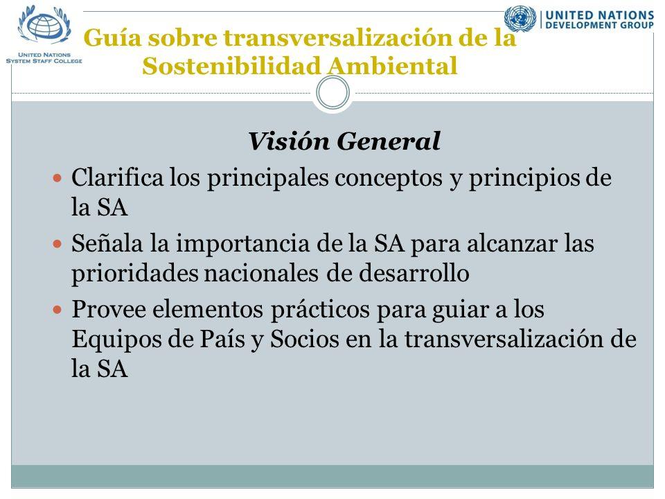 Principios de SA en la Programación de país de NN.UU (Anexo F) Integración e interdependen- cia Transparencia, Participación pública, Acceso a inform.