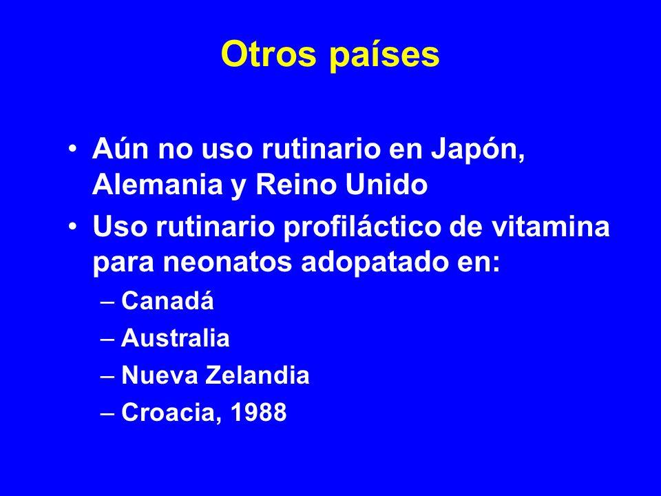 Otros países Aún no uso rutinario en Japón, Alemania y Reino Unido Uso rutinario profiláctico de vitamina para neonatos adopatado en: –Canadá –Austral