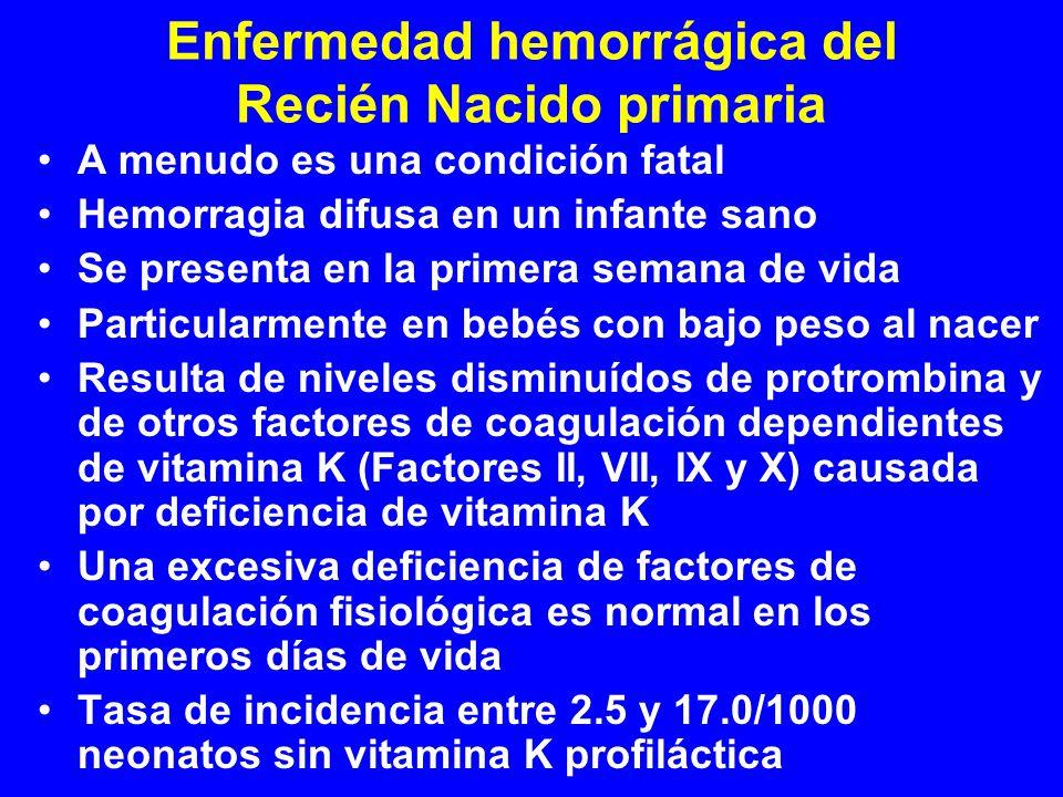Enfermedad hemorrágica del Recién Nacido primaria A menudo es una condición fatal Hemorragia difusa en un infante sano Se presenta en la primera seman