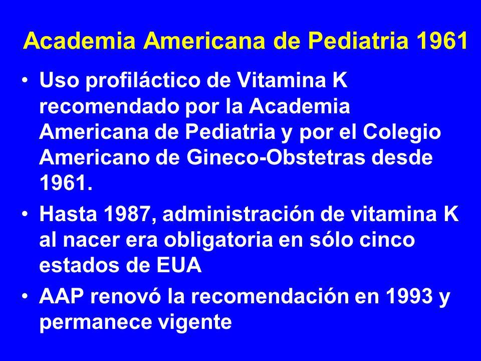 Academia Americana de Pediatria 1961 Uso profiláctico de Vitamina K recomendado por la Academia Americana de Pediatria y por el Colegio Americano de G