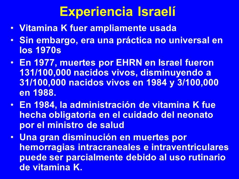 Experiencia Israelí Vitamina K fuer ampliamente usada Sin embargo, era una práctica no universal en los 1970s En 1977, muertes por EHRN en Israel fuer