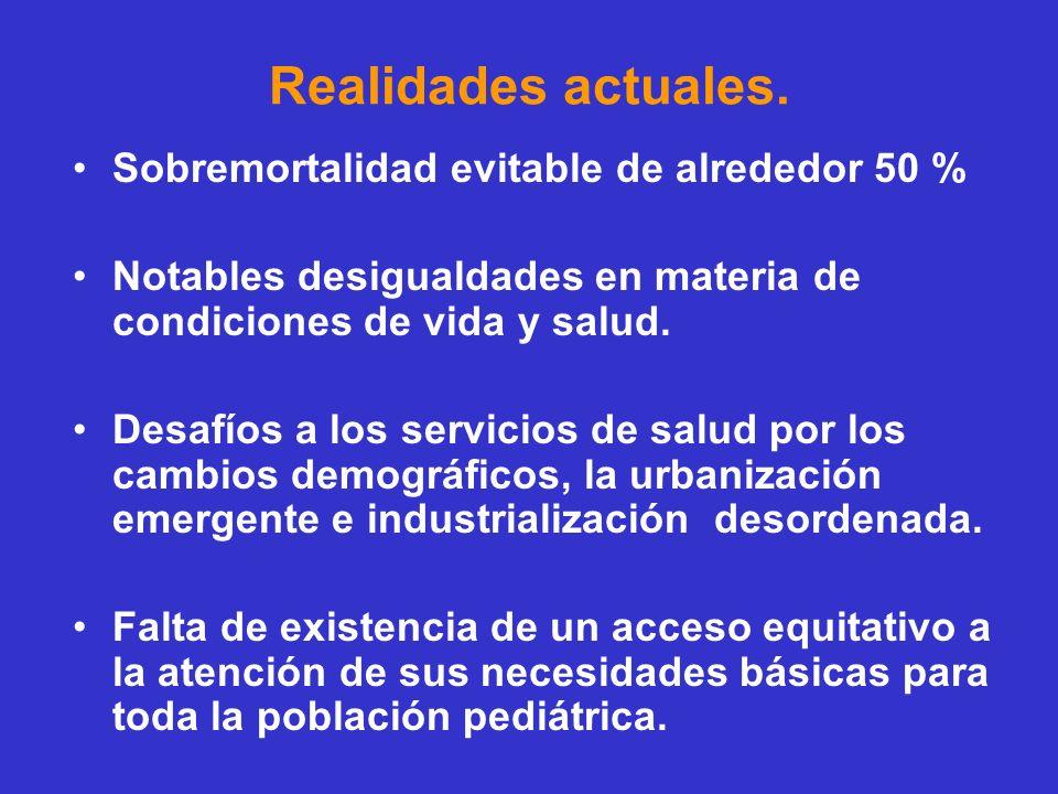Realidades actuales. Sobremortalidad evitable de alrededor 50 % Notables desigualdades en materia de condiciones de vida y salud. Desafíos a los servi