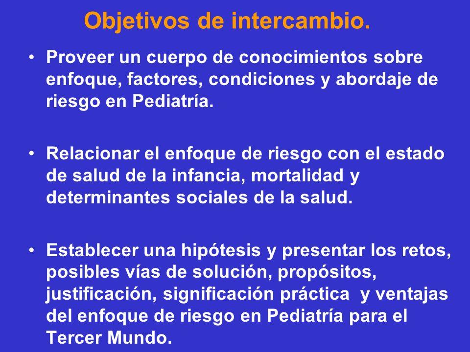 Objetivos de intercambio. Proveer un cuerpo de conocimientos sobre enfoque, factores, condiciones y abordaje de riesgo en Pediatría. Relacionar el enf