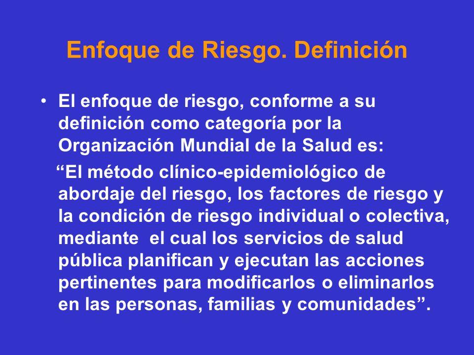 Enfoque de Riesgo. Definición El enfoque de riesgo, conforme a su definición como categoría por la Organización Mundial de la Salud es: El método clín
