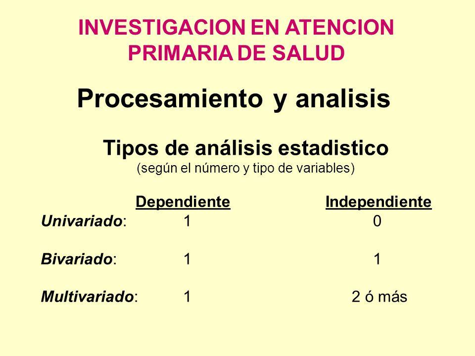 INVESTIGACION EN ATENCION PRIMARIA DE SALUD Procesamiento y analisis Tipos de análisis estadistico (según el número y tipo de variables) DependienteIn