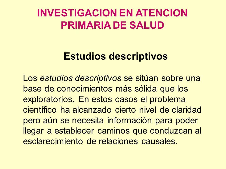 INVESTIGACION EN ATENCION PRIMARIA DE SALUD Estudios descriptivos Los estudios descriptivos se sitúan sobre una base de conocimientos más sólida que l