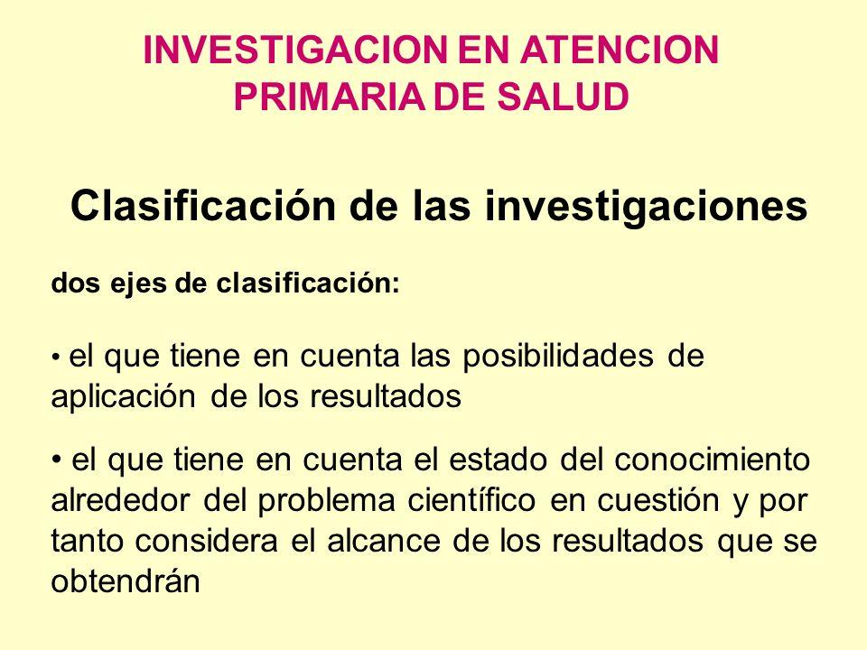 INVESTIGACION EN ATENCION PRIMARIA DE SALUD Clasificación de las investigaciones dos ejes de clasificación: el que tiene en cuenta las posibilidades d