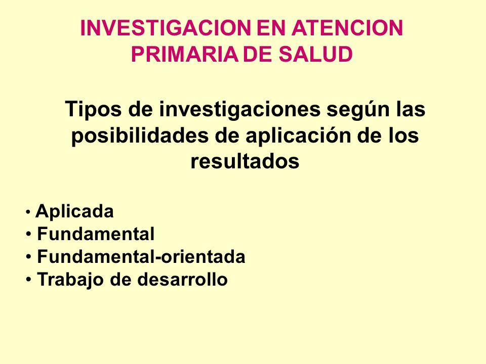 INVESTIGACION EN ATENCION PRIMARIA DE SALUD Tipos de investigaciones según las posibilidades de aplicación de los resultados Aplicada Fundamental Fund