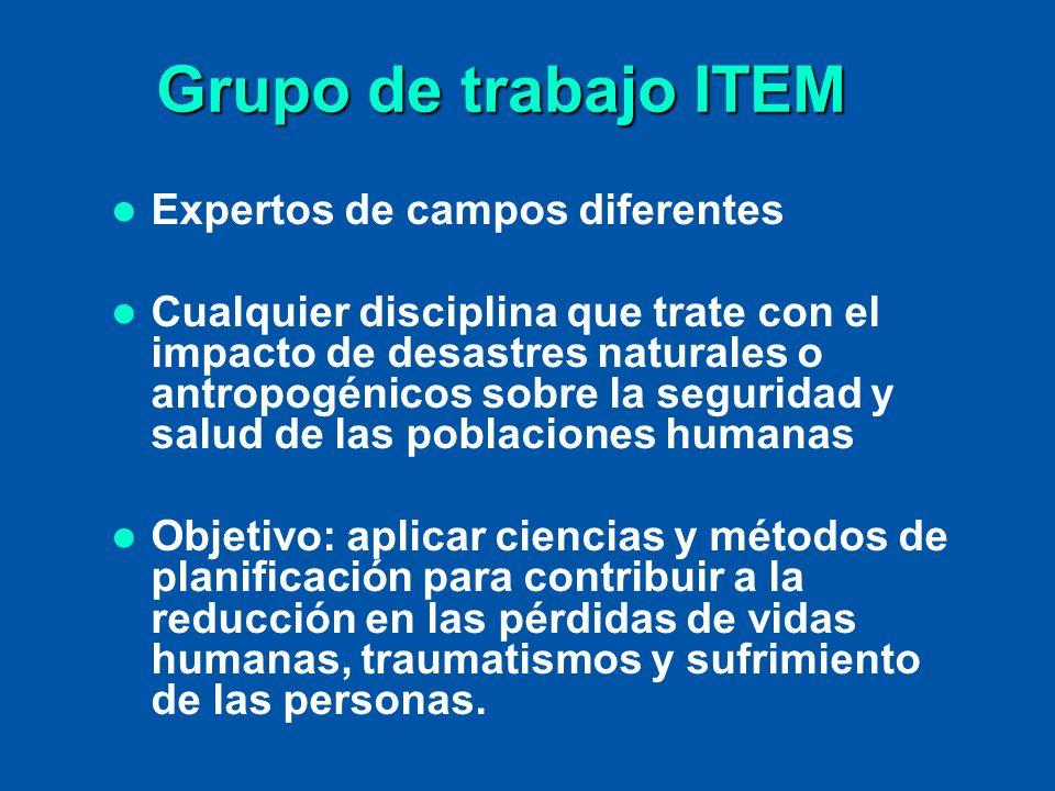 Grupo de trabajo ITEM Expertos de campos diferentes Cualquier disciplina que trate con el impacto de desastres naturales o antropogénicos sobre la seg
