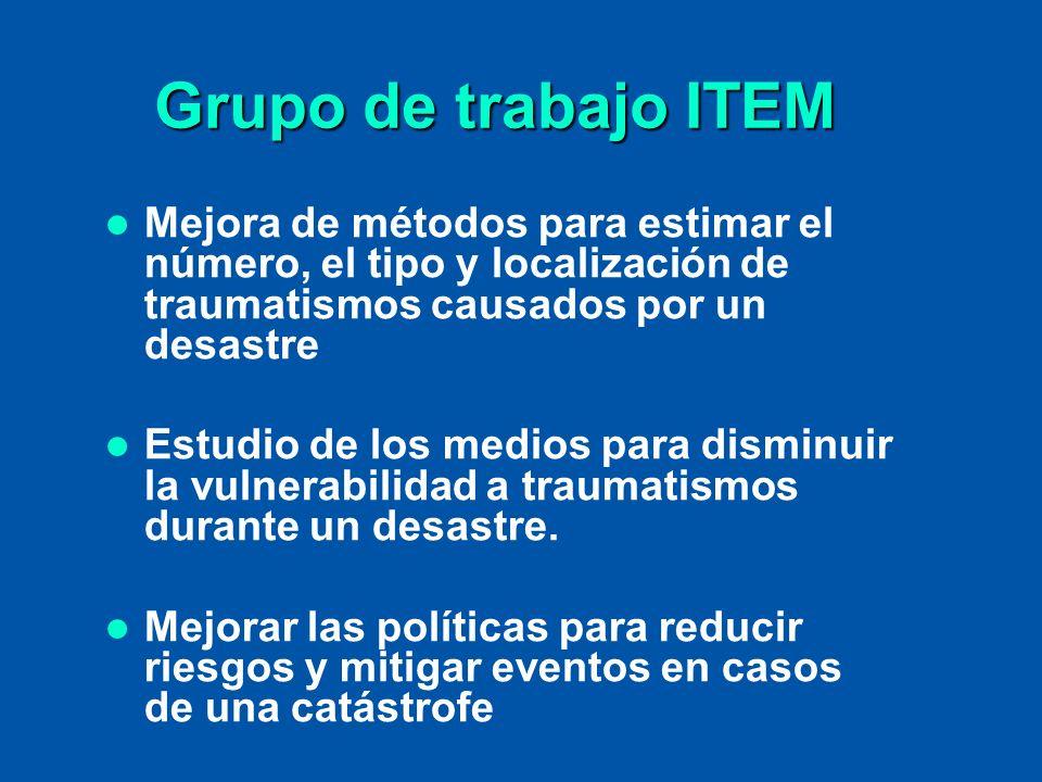 Grupo de trabajo ITEM Mejora de métodos para estimar el número, el tipo y localización de traumatismos causados por un desastre Estudio de los medios