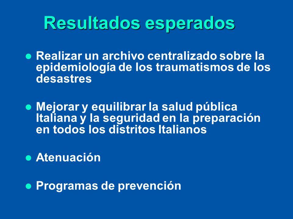 Resultados esperados Realizar un archivo centralizado sobre la epidemiología de los traumatismos de los desastres Mejorar y equilibrar la salud públic