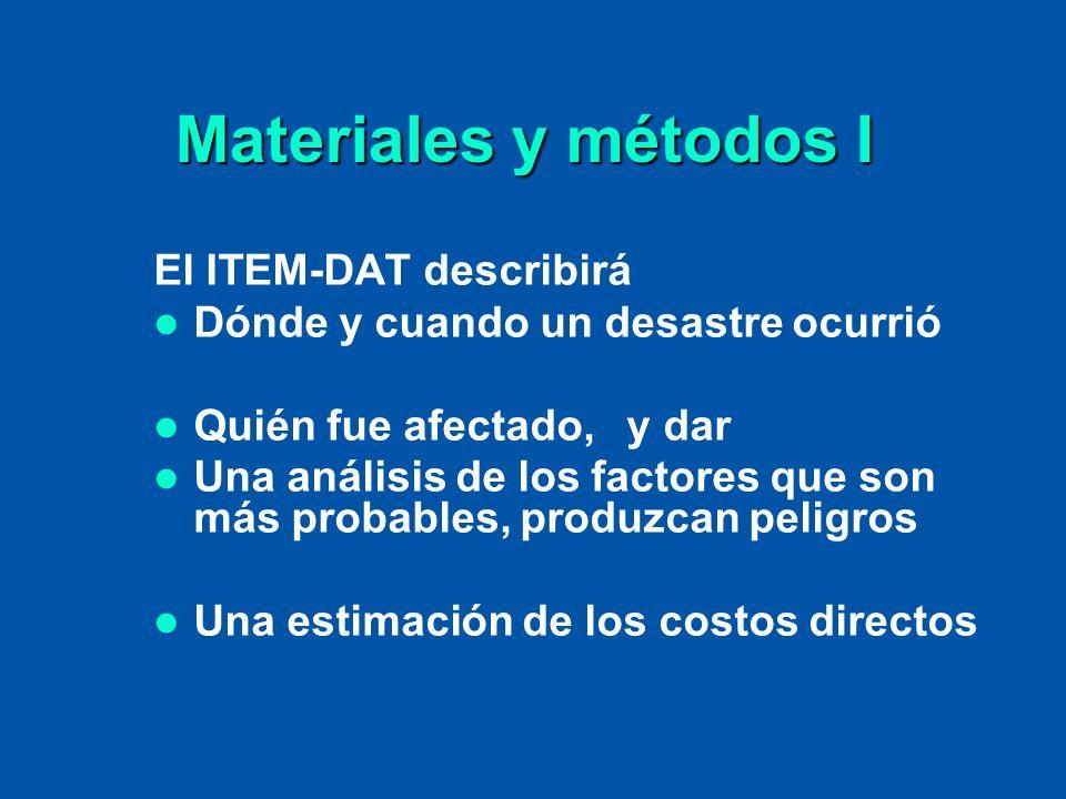 Materiales y métodos II El ITEM-DAT tendrá referencias de todos los tipos de desastres Italianos y será organizado en tres secciones: Peligros naturales Peligros antropogénicos Accidentes relacionados a conflictos o a terrorismo