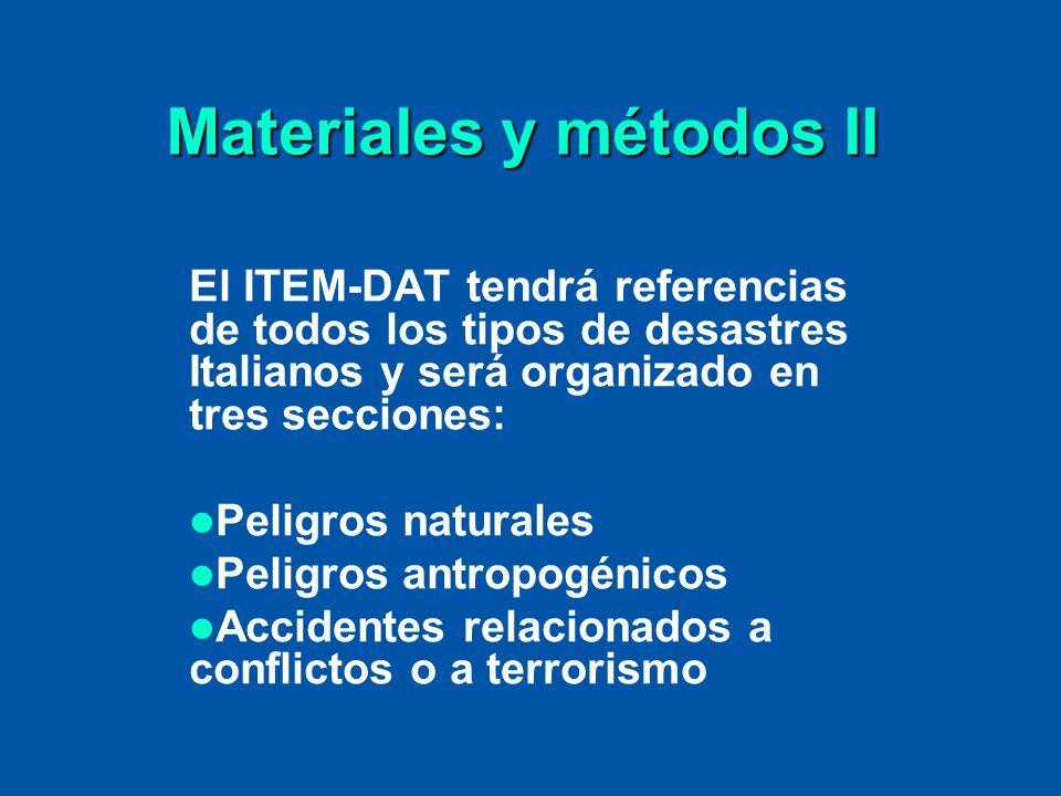 Materiales y métodos II El ITEM-DAT tendrá referencias de todos los tipos de desastres Italianos y será organizado en tres secciones: Peligros natural