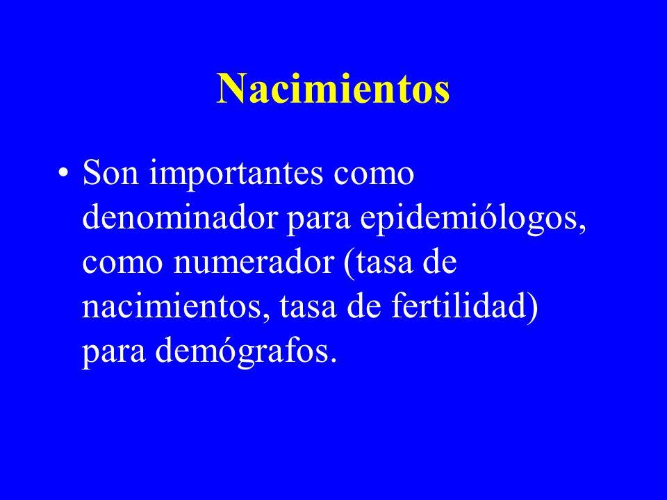 Nacimientos Son importantes como denominador para epidemiólogos, como numerador (tasa de nacimientos, tasa de fertilidad) para demógrafos.