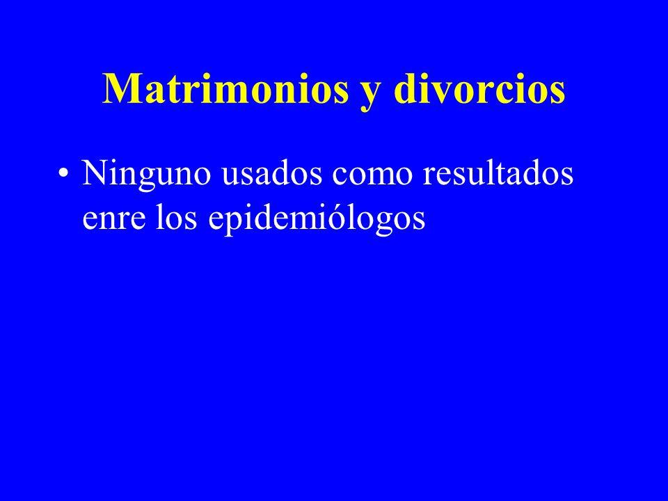 Matrimonios y divorcios Ninguno usados como resultados enre los epidemiólogos
