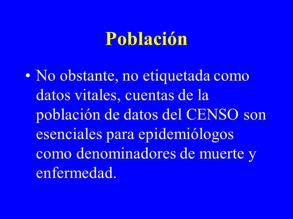 Población No obstante, no etiquetada como datos vitales, cuentas de la población de datos del CENSO son esenciales para epidemiólogos como denominadores de muerte y enfermedad.