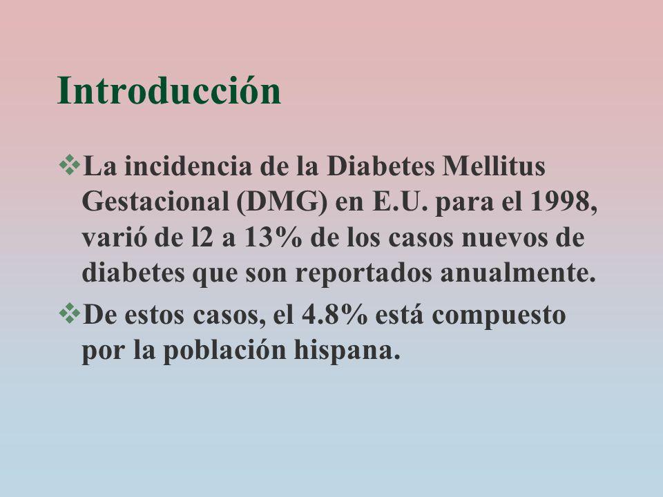 Introducción La incidencia de la Diabetes Mellitus Gestacional (DMG) en E.U. para el 1998, varió de l2 a 13% de los casos nuevos de diabetes que son r