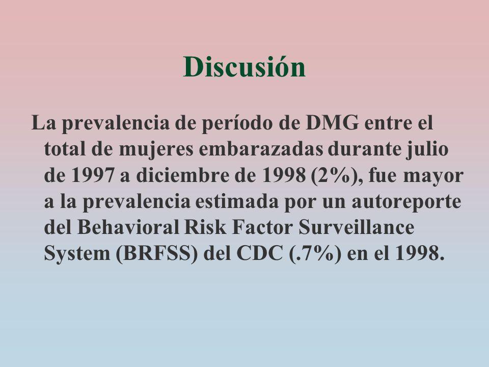 Discusión La prevalencia de período de DMG entre el total de mujeres embarazadas durante julio de 1997 a diciembre de 1998 (2%), fue mayor a la preval