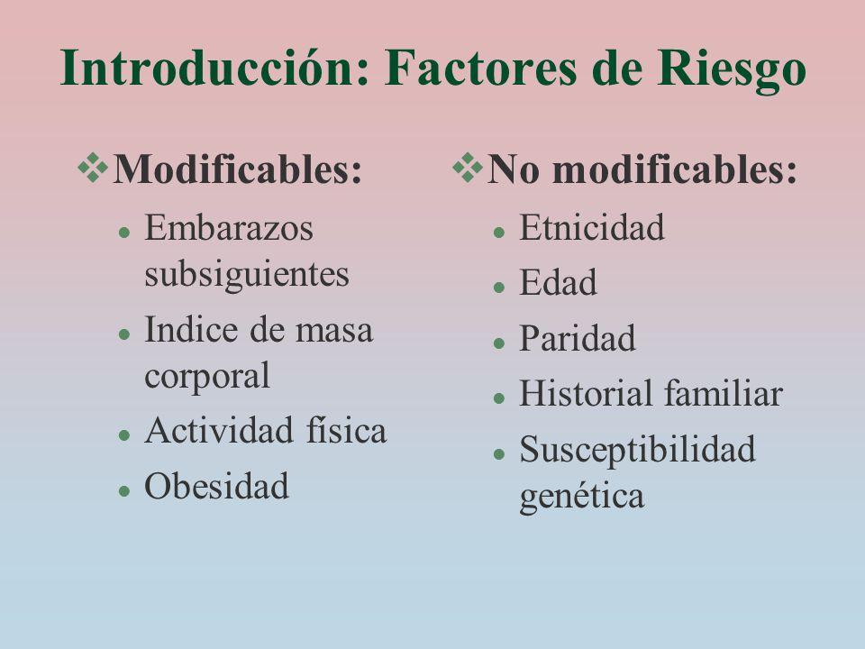Introducción: Factores de Riesgo Modificables: l Embarazos subsiguientes l Indice de masa corporal l Actividad física l Obesidad No modificables: l Et
