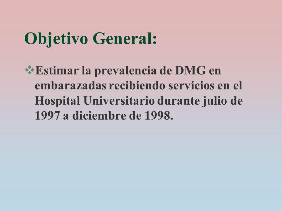 Objetivo General: Estimar la prevalencia de DMG en embarazadas recibiendo servicios en el Hospital Universitario durante julio de 1997 a diciembre de