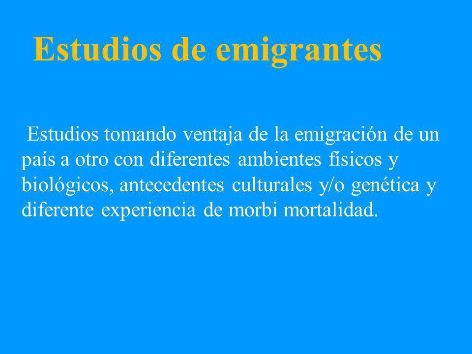 Estudios de emigrantes Estudios tomando ventaja de la emigración de un país a otro con diferentes ambientes físicos y biológicos, antecedentes culturales y/o genética y diferente experiencia de morbi mortalidad.