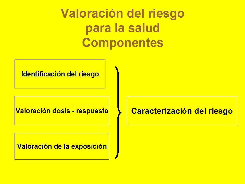Valoración del riesgo para la salud Componentes Identificación del riesgo Valoración dosis - respuesta Valoración de la exposición Caracterización del