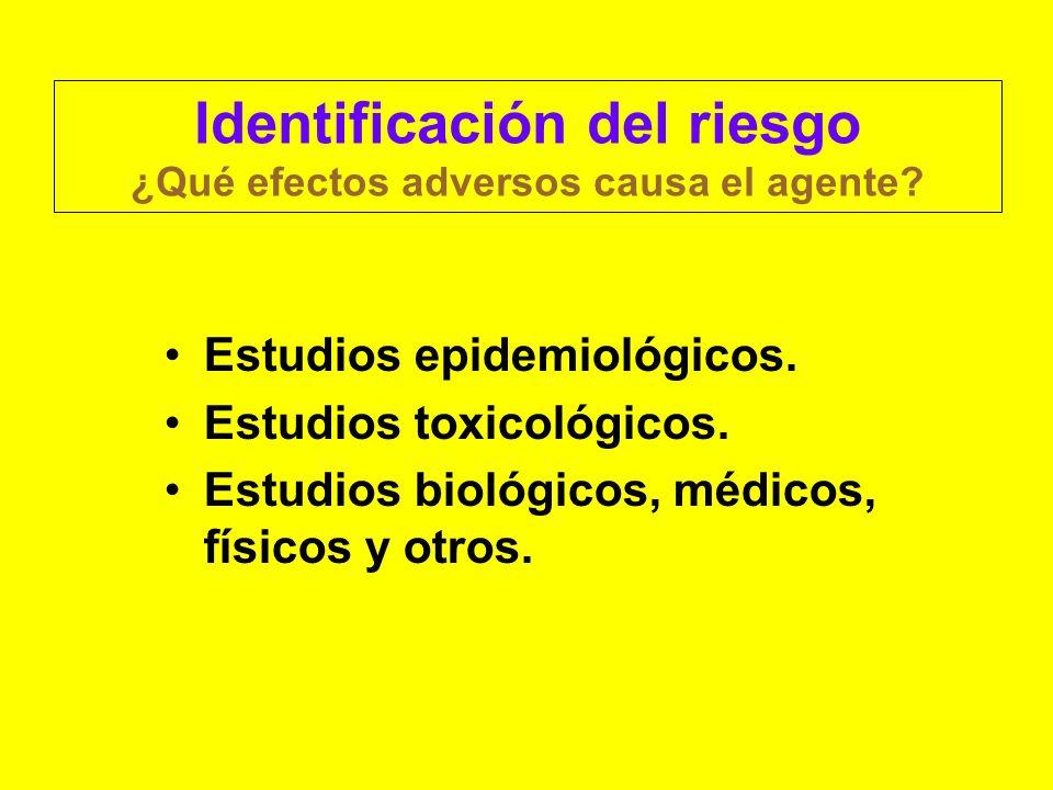 Identificación del riesgo ¿Qué efectos adversos causa el agente? Estudios epidemiológicos. Estudios toxicológicos. Estudios biológicos, médicos, físic