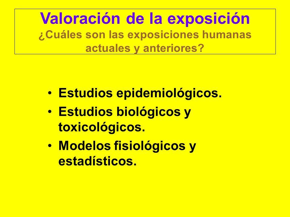 Valoración de la exposición ¿Cuáles son las exposiciones humanas actuales y anteriores? Estudios epidemiológicos. Estudios biológicos y toxicológicos.