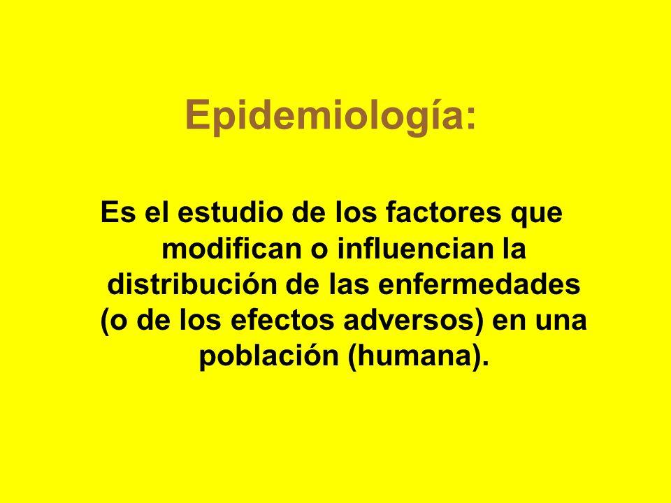 Epidemiología: Es el estudio de los factores que modifican o influencian la distribución de las enfermedades (o de los efectos adversos) en una poblac