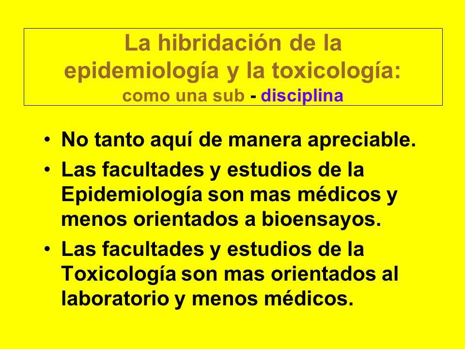 La hibridación de la epidemiología y la toxicología: como una sub - disciplina No tanto aquí de manera apreciable. Las facultades y estudios de la Epi