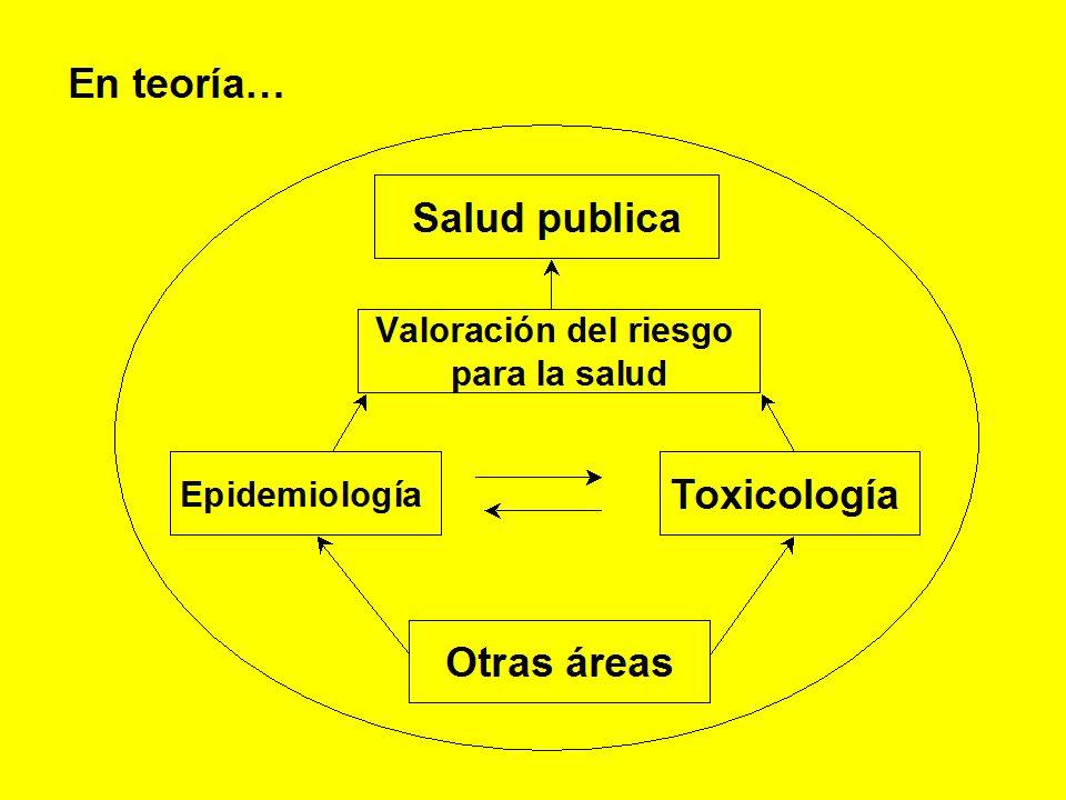 En teoría… Valoración del riesgo para la salud Epidemiología Toxicología Otras áreas Salud publica