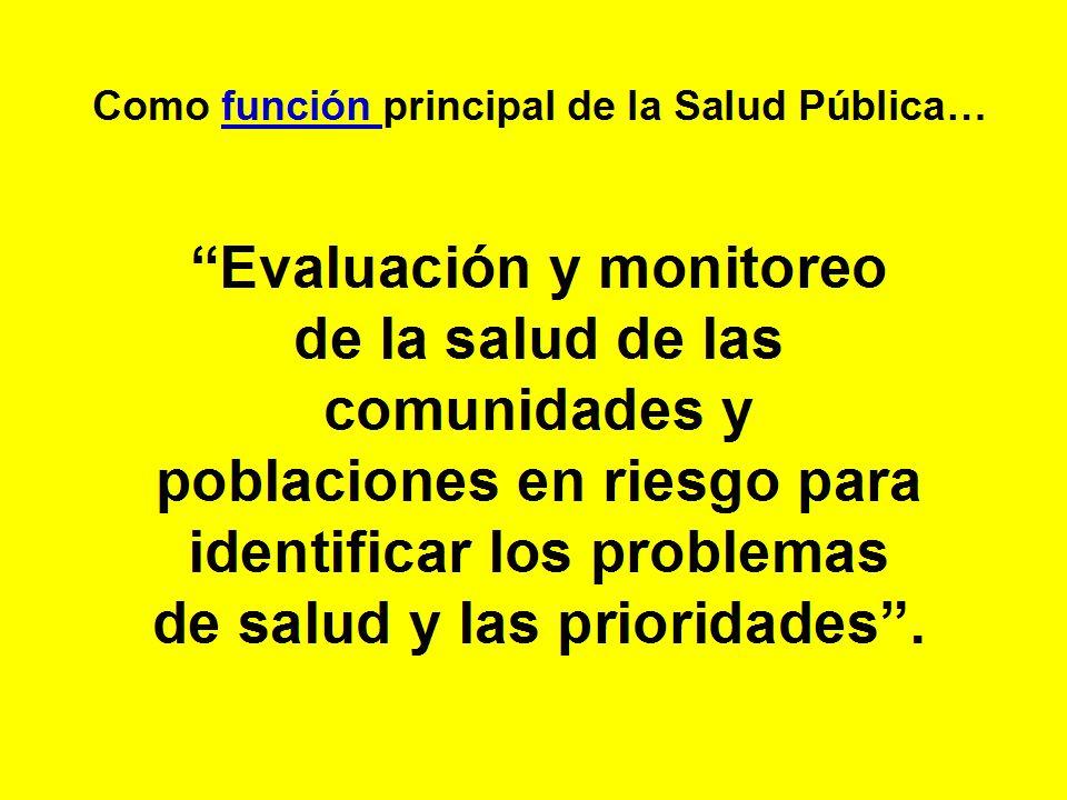 Evaluación y monitoreo de la salud de las comunidades y poblaciones en riesgo para identificar los problemas de salud y las prioridades. Como función