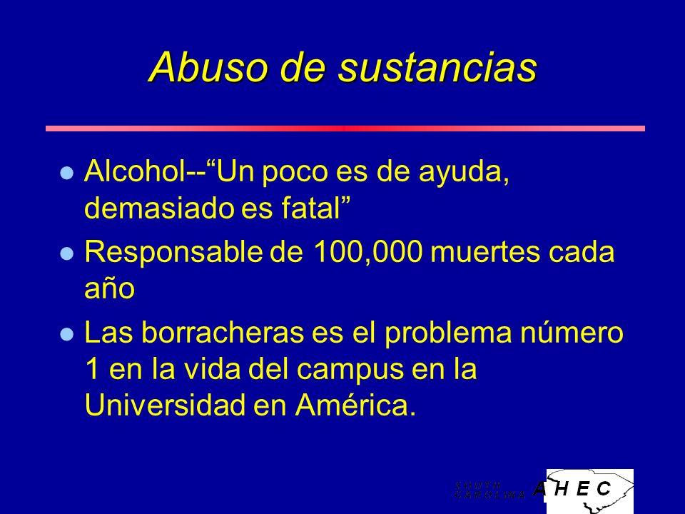 Abuso de sustancias l Alcohol--Un poco es de ayuda, demasiado es fatal l Responsable de 100,000 muertes cada año l Las borracheras es el problema número 1 en la vida del campus en la Universidad en América.