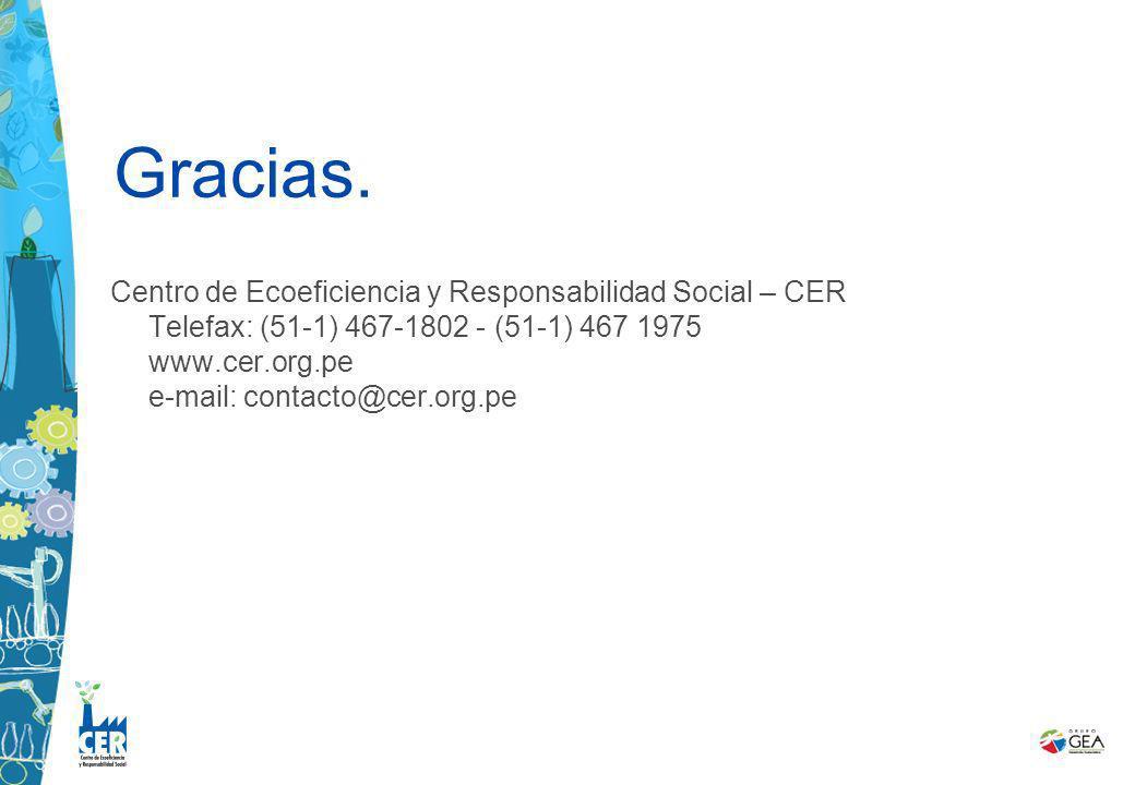 Centro de Ecoeficiencia y Responsabilidad Social – CER Telefax: (51-1) 467-1802 - (51-1) 467 1975 www.cer.org.pe e-mail: contacto@cer.org.pe Gracias.