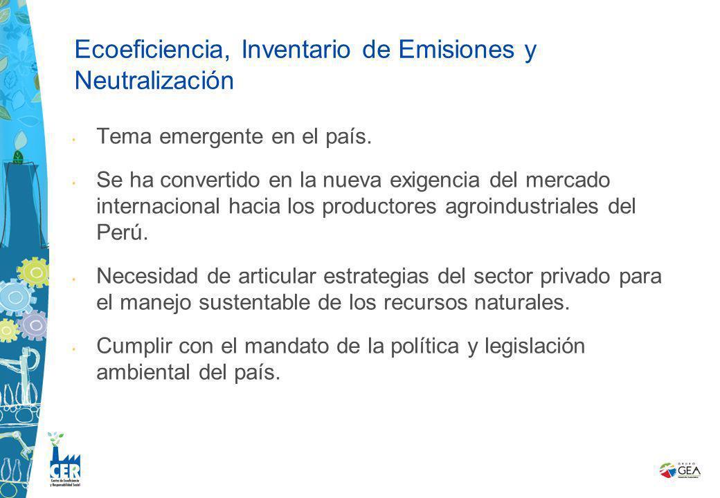 Tema emergente en el país. Se ha convertido en la nueva exigencia del mercado internacional hacia los productores agroindustriales del Perú. Necesidad