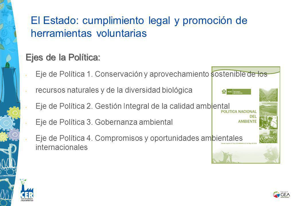 Ejes de la Política: Eje de Política 1. Conservación y aprovechamiento sostenible de los recursos naturales y de la diversidad biológica Eje de Políti