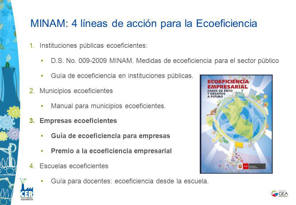 1. 1.Instituciones públicas ecoeficientes: D.S. No. 009-2009 MINAM. Medidas de ecoeficiencia para el sector público Guía de ecoeficiencia en instituci