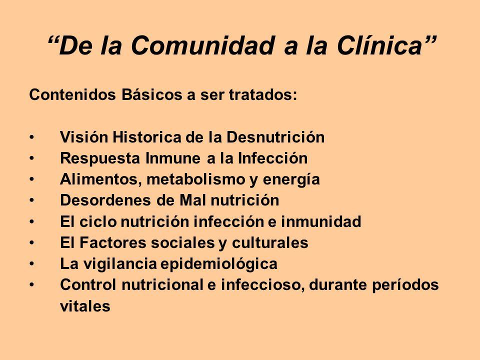 De la Comunidad a la Clínica Contenidos Básicos a ser tratados: Visión Historica de la Desnutrición Respuesta Inmune a la Infección Alimentos, metabol