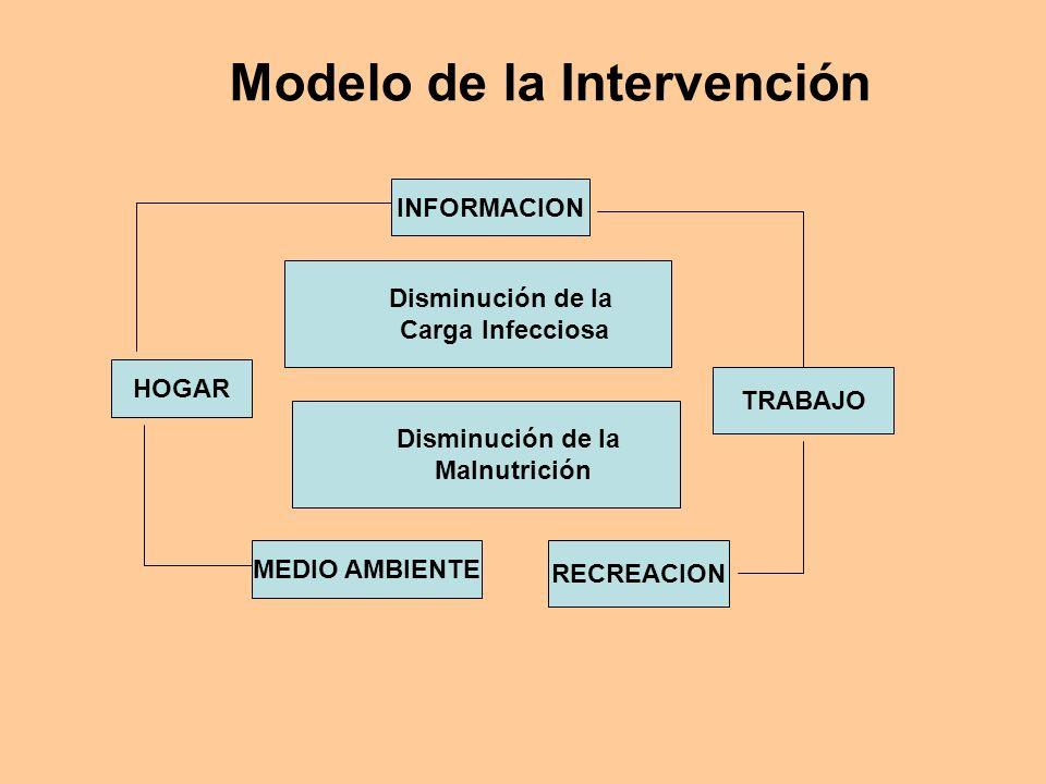 Modelo de la Intervención HOGAR INFORMACION MEDIO AMBIENTE RECREACION TRABAJO Disminución de la Carga Infecciosa Disminución de la Malnutrición