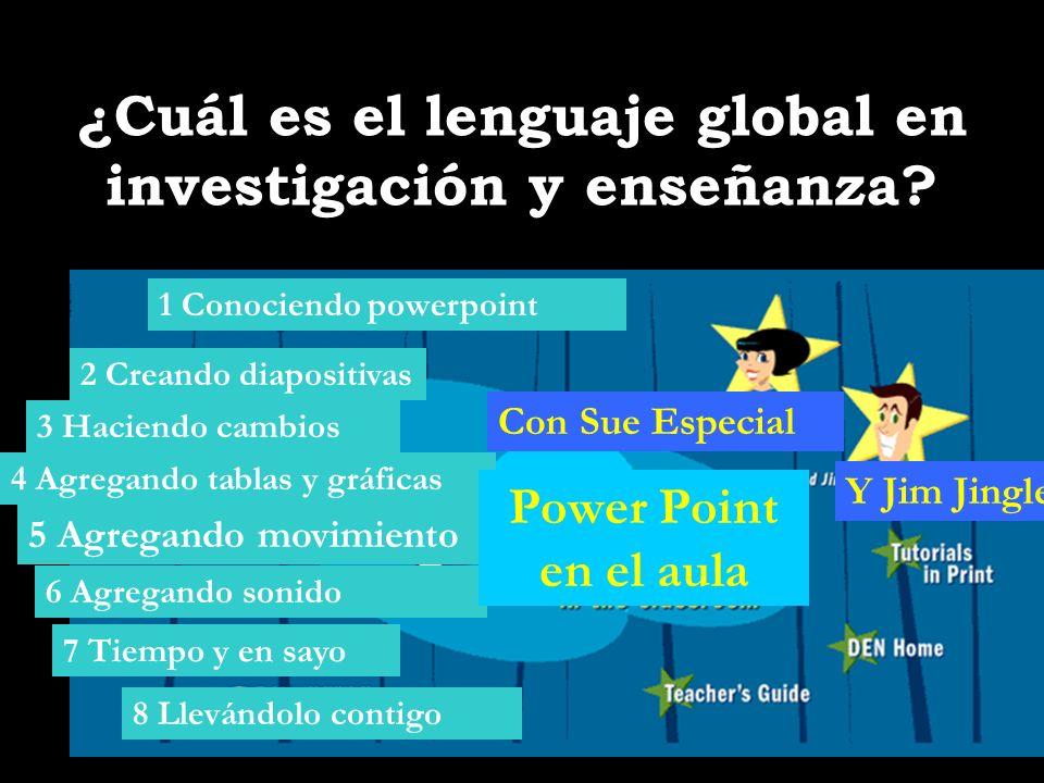 ¿Cuál es el lenguaje global en investigación y enseñanza? 1 Conociendo powerpoint 2 Creando diapositivas 3 Haciendo cambios 8 Llevándolo contigo 4 Agr