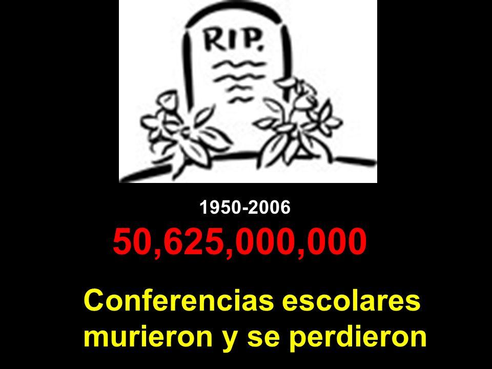 1950-2006 50,625,000,000 Conferencias escolares murieron y se perdieron