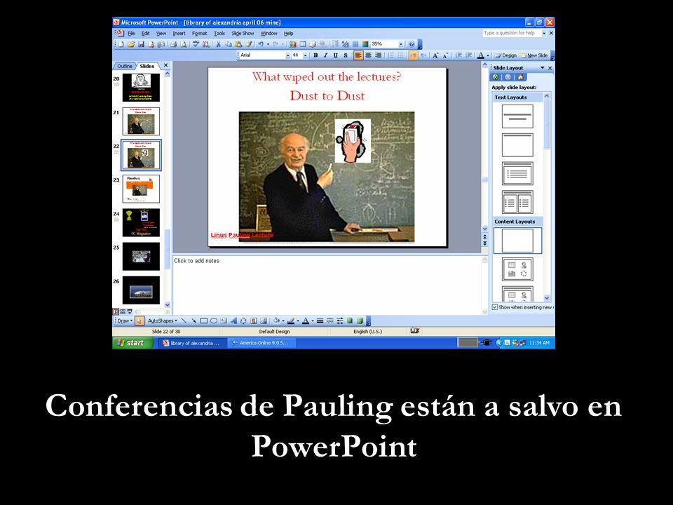 Conferencias de Pauling están a salvo en PowerPoint