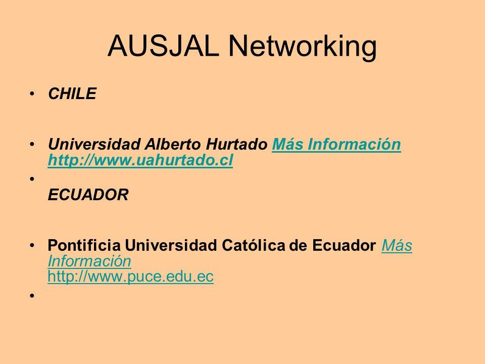 AUSJAL Networking CHILE Universidad Alberto Hurtado Más Información http://www.uahurtado.clMás Información http://www.uahurtado.cl ECUADOR Pontificia Universidad Católica de Ecuador Más Información http://www.puce.edu.ecMás Información http://www.puce.edu.ec