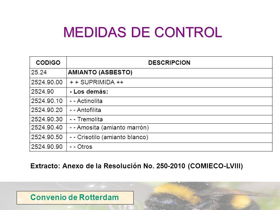Convenio de Rotterdam CODIGODESCRIPCION 25.24AMIANTO (ASBESTO) 2524.90.00 + + SUPRIMIDA ++ 2524.90 - Los demás: 2524.90.10 - - Actinolita 2524.90.20 -
