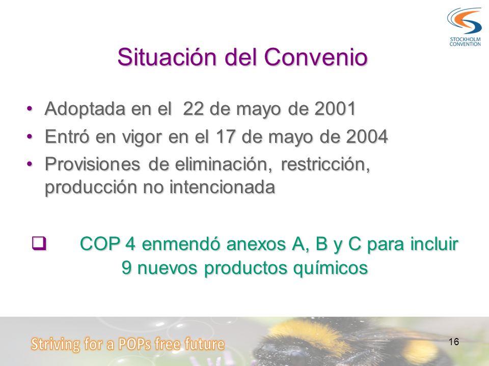16 Situación del Convenio Adoptada en el 22 de mayo de 2001Adoptada en el 22 de mayo de 2001 Entró en vigor en el 17 de mayo de 2004Entró en vigor en