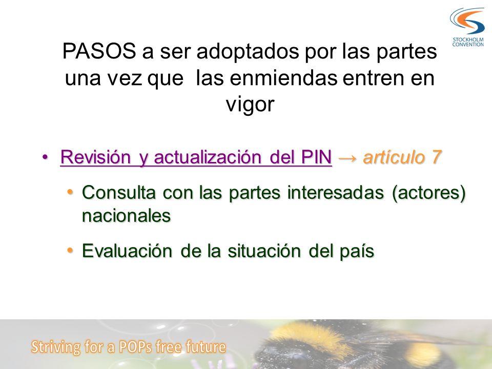 Revisión y actualización del PIN artículo 7Revisión y actualización del PIN artículo 7 Consulta con las partes interesadas (actores) nacionales Consul