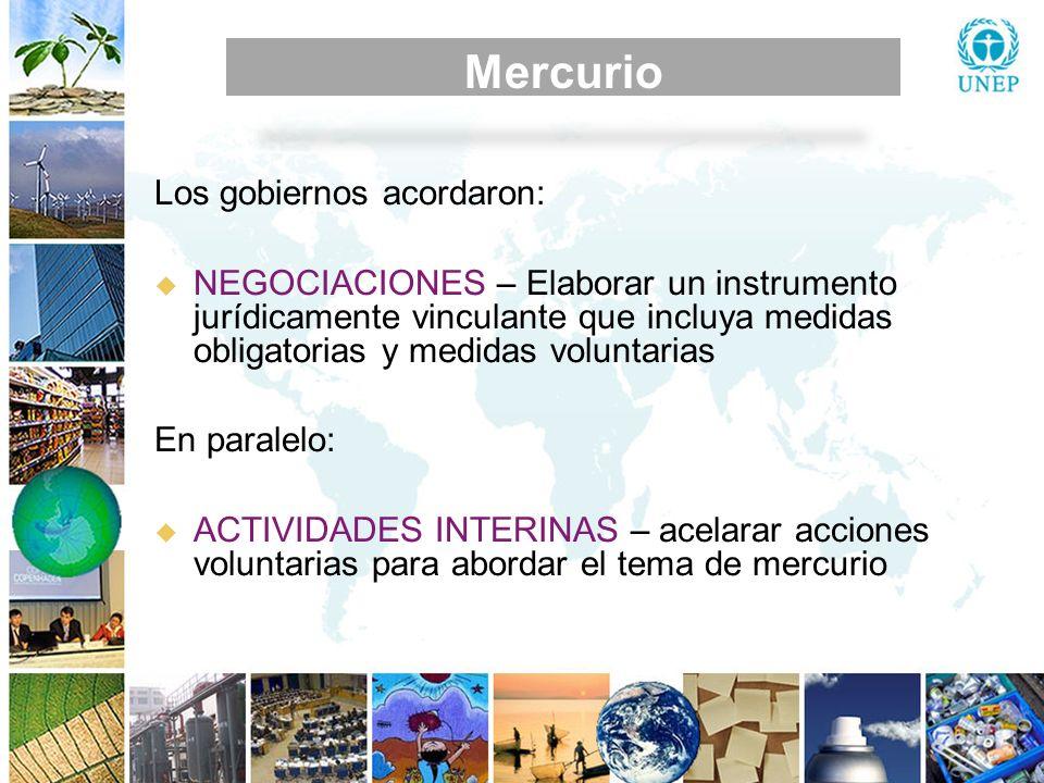 Mercurio MEDIDAS DE CONTROL Mercurio Los gobiernos acordaron: NEGOCIACIONES – Elaborar un instrumento jurídicamente vinculante que incluya medidas obl