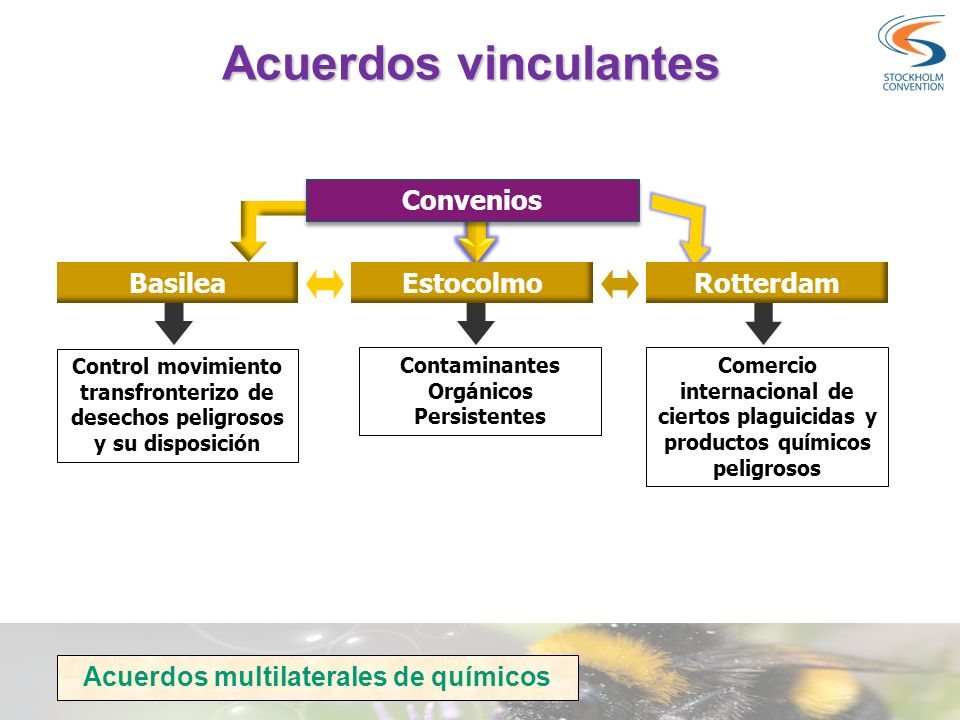 Acuerdos vinculantes Convenios BasileaEstocolmoRotterdam Control movimiento transfronterizo de desechos peligrosos y su disposición Contaminantes Orgá