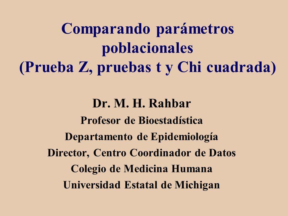 Comparando parámetros poblacionales (Prueba Z, pruebas t y Chi cuadrada) Dr. M. H. Rahbar Profesor de Bioestadística Departamento de Epidemiología Dir